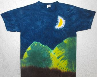 Green Moon Shirt Y tie dye twisted front shirt in green yellow purple