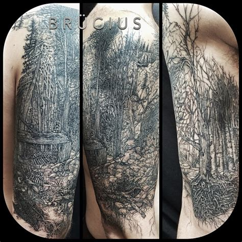 graphic dark forest shoulder tattoo best tattoo ideas