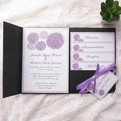 cheap purple dandelion black pocket wedding invitation kits ewpi155 as low as 1 69