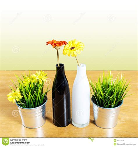 Decorative Pots And Vases by Decorative Vase On The Table Royalty Free Stock Photo