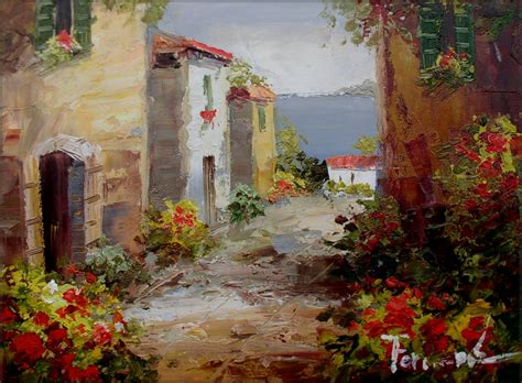 cottages in tuscany framed quality painted painting cottages in