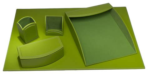 Dacasso Colors Faux Leather 5 Piece Office Organizing Desk Lime Green Desk Accessories