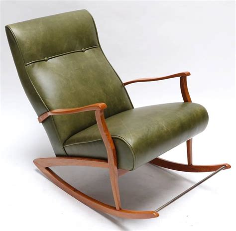 Green Leather Recliner Chair Sale 1960s Rocking Chair In Green Leather For Sale At