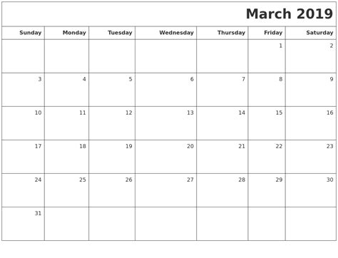 Calendar 2019 March March 2019 Printable Blank Calendar