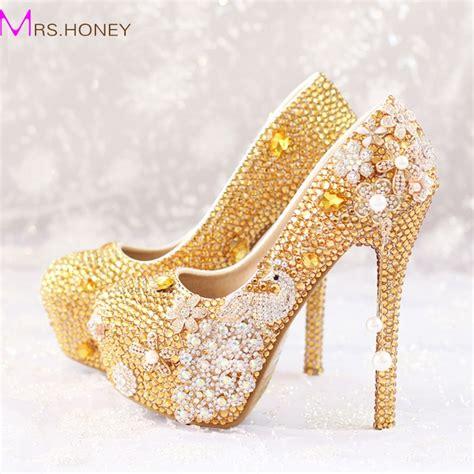 Glitter Wedding Shoes by Glitter Gold Rhinestone Wedding Shoes 5 Inches High Heel