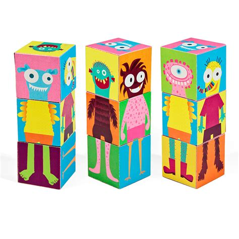 Print And Make Paper Toys - monsters blocks printable pdf diy craft kit paper