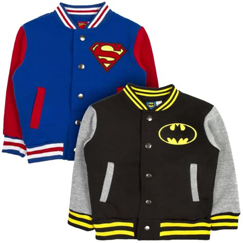 dc comics baseball jacket batman superman varsity fleece coat ebay