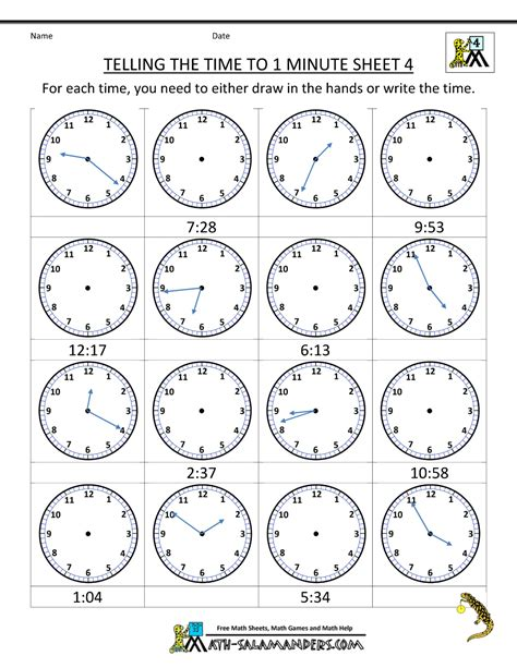 Printable Worksheets Telling Time | clock worksheets to 1 minute