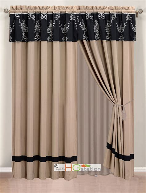 black valance curtains 4 pc damask royal french lily lattice embroidery curtain