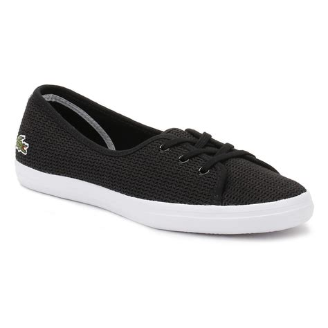 Flat Lacoste lacoste womens black ziane chunky ballerinas flat casual