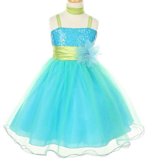 girls party pageant dressin turquoise lime sizes