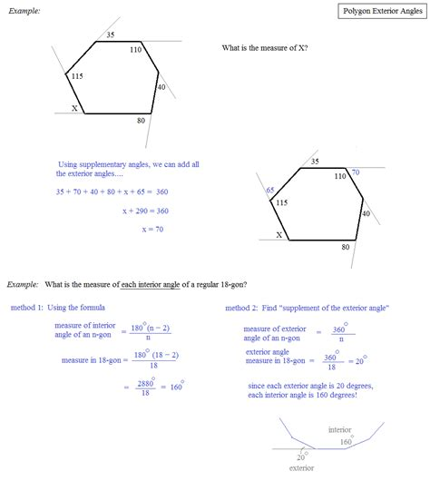 Polygons Exterior And Interior Angles by Interior And Exterior Angles Of Polygons Worksheet