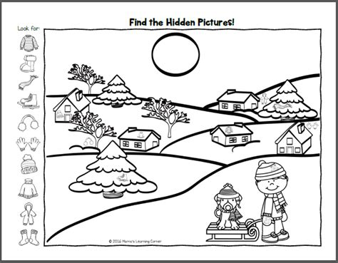 Find It Winter Hidden Picture Worksheets Mamas Learning Corner Find The Pictures Printables