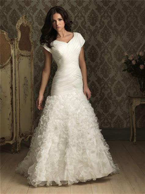 trumpet mermaid cap sleeve organza wedding dress  ruffles