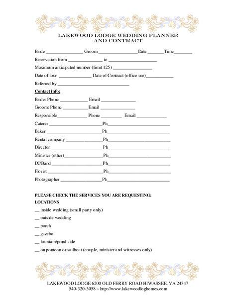 Wedding Planner Contract Template   baby shower