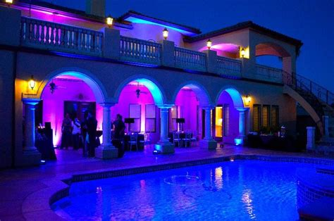 house pool party outdoor uplighting at a house outdoor uplighting