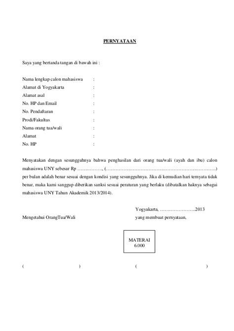surat pernyataan penghasilan orangtua verifikasi mahasiswa 2013