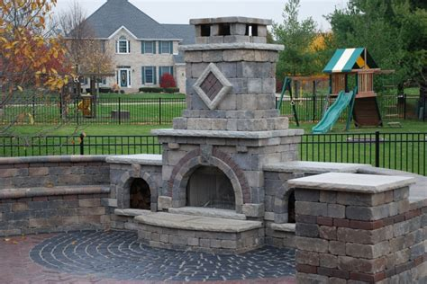 Unilock Fireplace by Knoll Landscape Services Designed And Installed Unilock