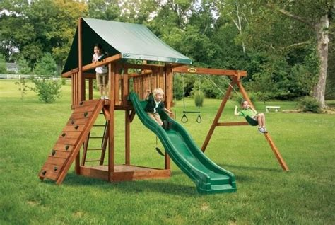 backyard playset just a swingin swing set ideas