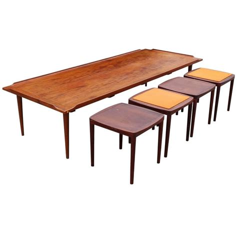 coffee table with stools mid century modern coffee table with reversible stools tables at 1stdibs