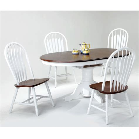 white and chestnut 5 dining room table with 4 side