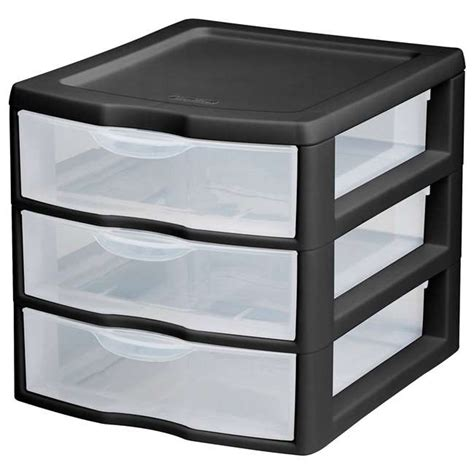 sterilite plastic drawers black sterilite 3 drawer countertop black and clear storage
