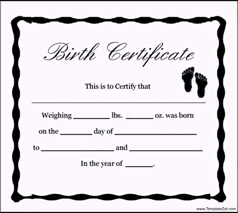 Time Of Birth Records Free Free Blank Birth Certificate Template Templatezet