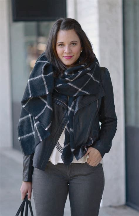 Grey And White Home Decor black and white blanket scarf outfit my style vita