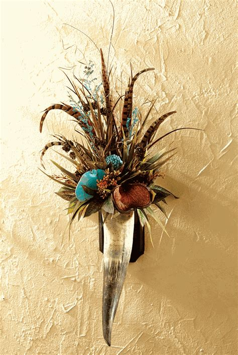 floral pheasant feathers horn wall hanging