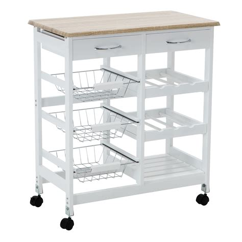 Oak Kitchen Carts And Islands - oak kitchen island cart trolley portable rolling storage dining table 2 drawers