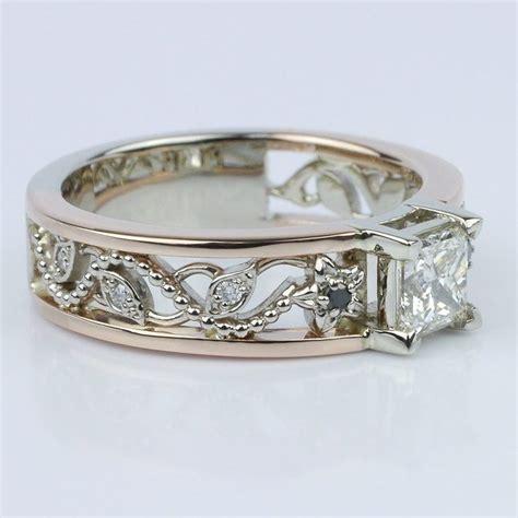 vintage gold floral filigree engagement ring
