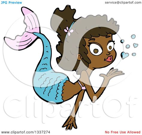 clipart of a cartoon black mermaid blowing a kiss
