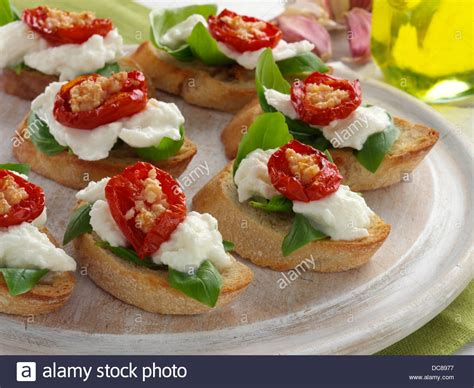canapes italien bruschetta finger food snacks canapes stock photo