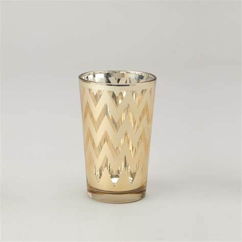 Votive Candle Holder Chevron Glass Votive Candle Holder 6 Count Gold