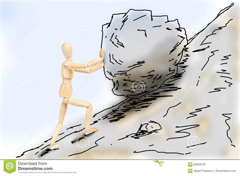 slope anxiety man pushing a stone up to the mountain slope stock photo