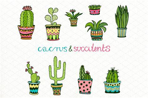 cactus doodle doodle cactus set vector illustrations creative market