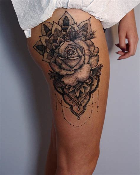rose thigh tattoo designs large thigh design lava360