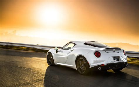 white alfa romeo 4c in the sunset hd desktop wallpaper