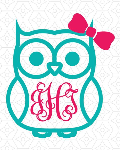 monogram ideas owl with or without bow monogram frame decal design svg