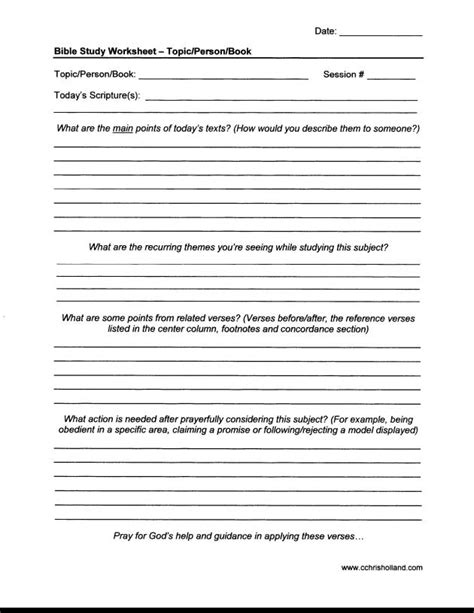 Bible Study Worksheets Cchrisholland Topical Bible Study Template