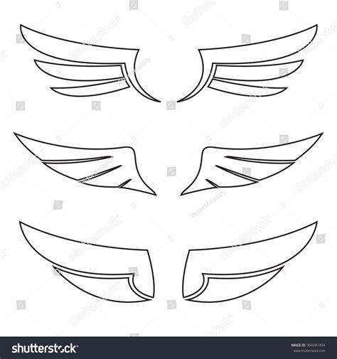 Bird Wings Outline by Wings Icon Outline Set Vector Illustration Stock Vector 304281434