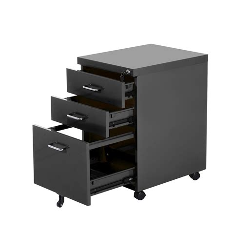 homcom 3 drawers metal filing cabinet lockable w wheels