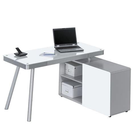 white glass corner desk hadley corner computer desk in aluminium and white glass