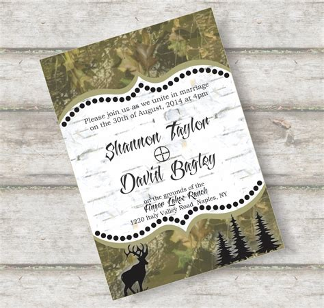 camo wedding invitations template best template collection