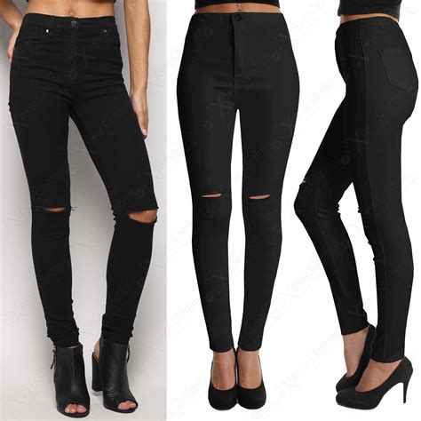 ripped black jeans womens bod jeans ladies black ripped knee skinny jeans womens high waisted