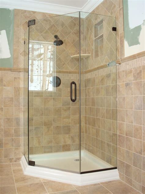 Frameless Shower Door Kit Modern Bathroom With White Transparent Glass Frameless Neo Angle Shower And Square Pale Brown