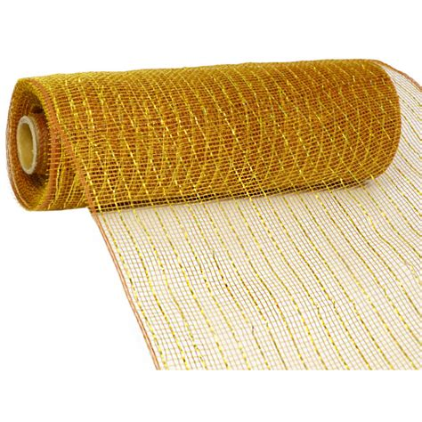10 quot poly deco mesh metallic gold brown re130163