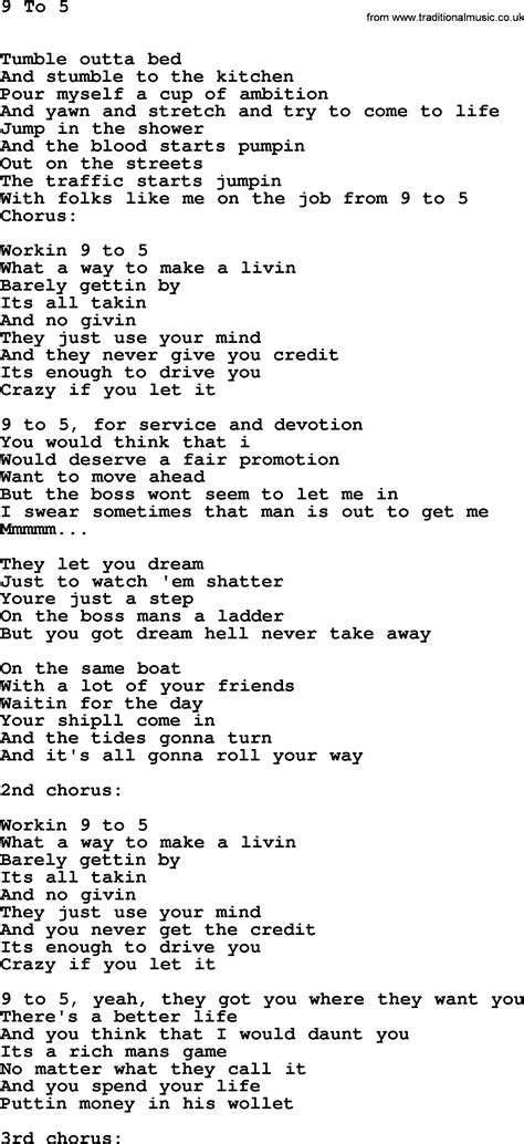 Song 9 To 5 | dolly parton song 9 to 5 lyrics