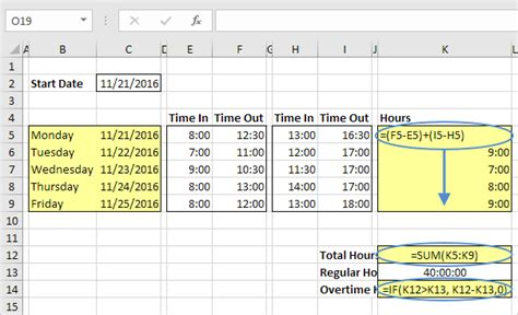calculating time cards in excel template time sheet in excel easy excel tutorial