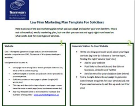 law firm marketing plan sle template sle law firm